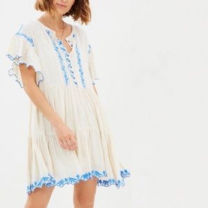 Free People Santiago Boho Embroidered Ivory Dress